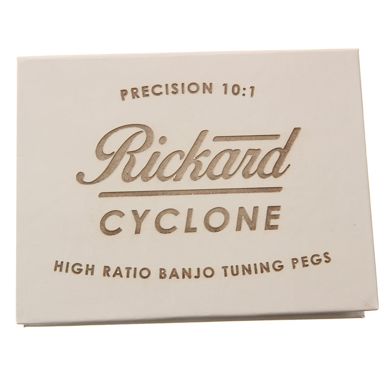 Rickard Cyclone High Ratio Banjo Tuners, Gold, Ebony Buttons, Set of 5