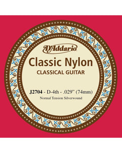"D'Addario J2704 Silverwound Nylon Normal Tension Single ""D"" Classical Guitar String"