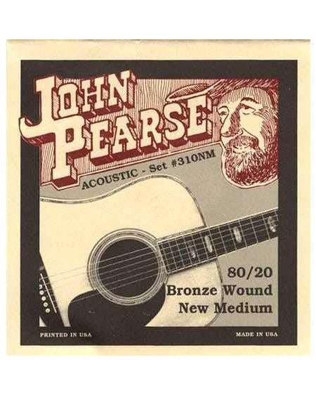 John Pearse 310NM 80/20 Bronze New Medium Acoustic Guitar Strings