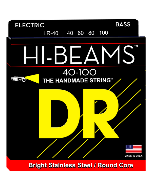 DR LR40 Hi Beam Stainless Steel Wound Light 4-String Electric Bass Set
