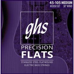 GHS M3050 Precision Flatwound Stainless Steel Medium Gauge Electric Bass Strings, Long Scale Plus