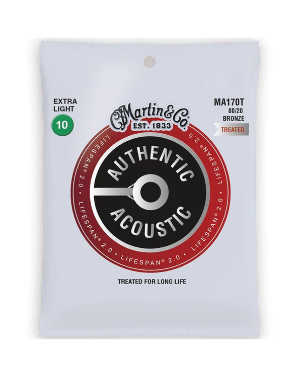 Martin MA170T Authentic Acoustic Lifespan 2.0 Treated 80/20 Bronze Ex-Lt 6-Str Set