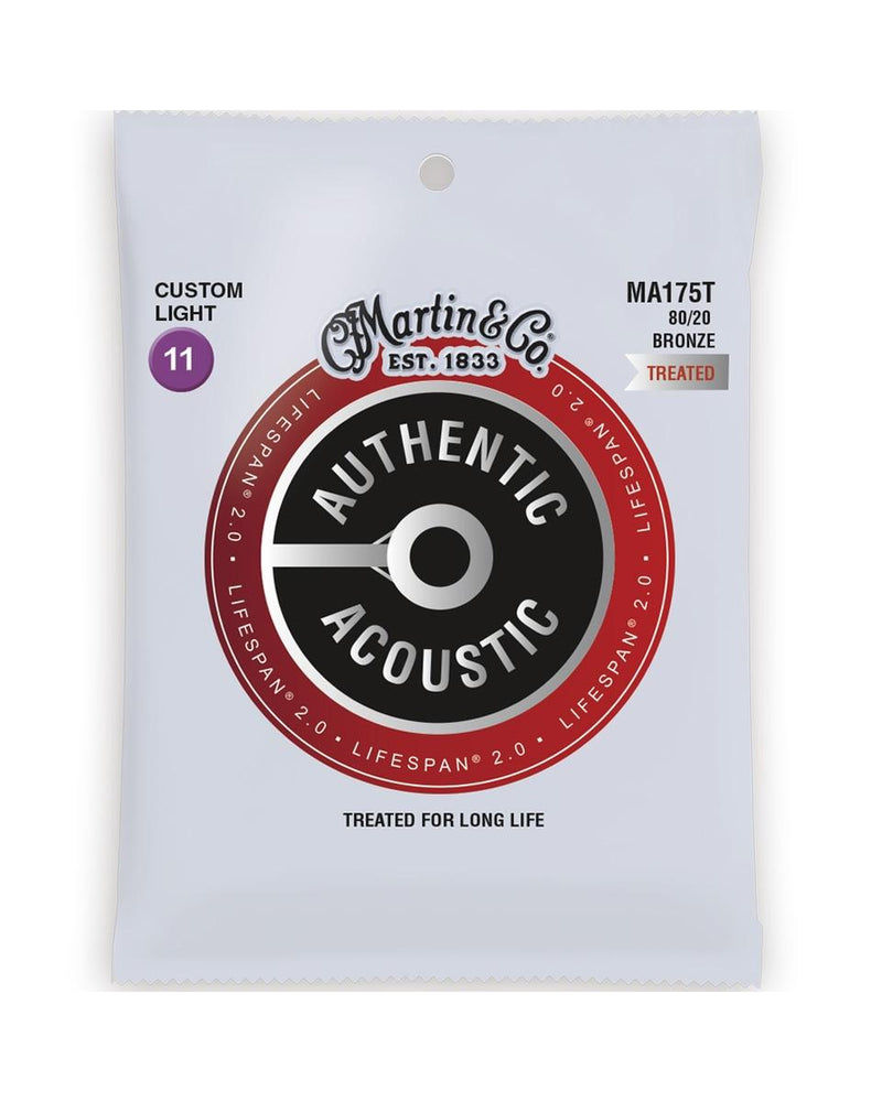 Martin MA175T Authentic Acoustic Lifespan 2.0 Treated 80/20 Bronze Cust-Lt 6-Str Set