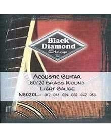 Black Diamond N8020L 80/20 Brass Wound 6 String Light Acoustic Guitar Set