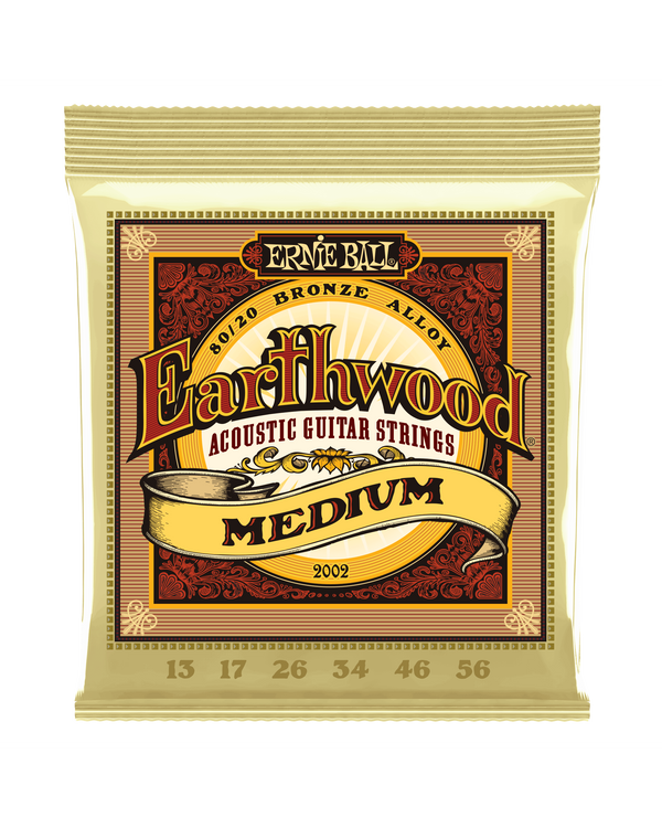 Ernie Ball 2002 Earthwood 80/20 Bronze Roundwound Medium Gauge Acoustic Guitar Strings