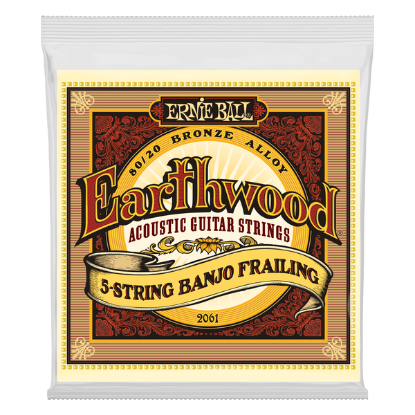 Ernie Ball 2061 Earthwood 80/20 Bronze Frailing Loop End 5-String Banjo Strings