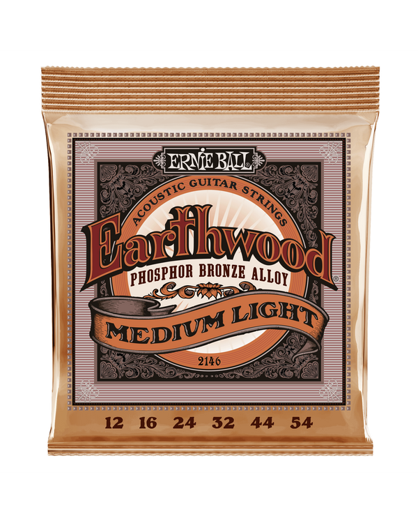 Ernie Ball 2146 Earthwood Phosphor Bronze Medium Light Gauge Acoustic Guitar Strings
