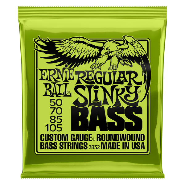 Ernie Ball 2832 Regular Slinky, Nickel Wound Electric Bass Strings, Long Scale