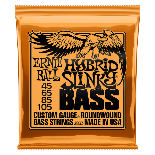 Ernie Ball 2833 Hybrid Slinky, Nickel Wound Electric Bass Strings, Long Scale