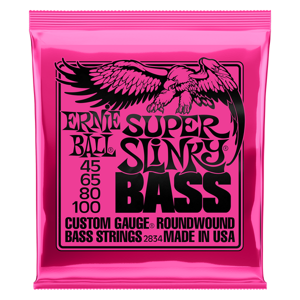 Ernie Ball 2834 Super Slinky, Nickel Wound Electric Bass Strings, Long Scale
