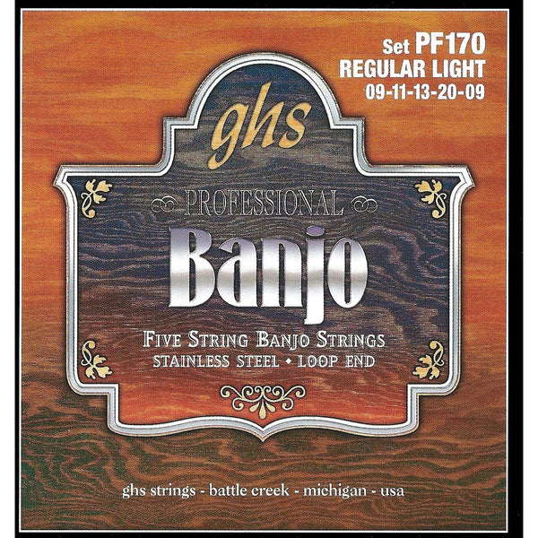 GHS PF170 Stainless Steel Loop End Regular Light Gauge 5-String Banjo Strings