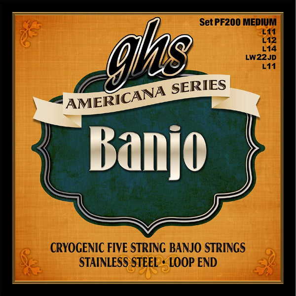 GHS PF200 Americana Cryogenic Stainless Steel Medium 5-String Banjo Strings