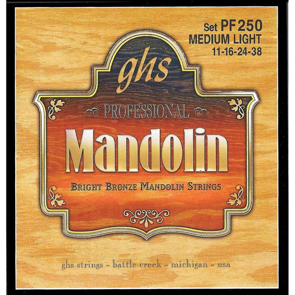 GHS PF250 Bright Bronze Medium Light Gauge Mandolin Strings
