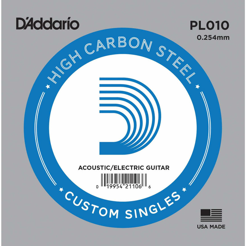 D'Addario PL010 High Carbon Steel Single String