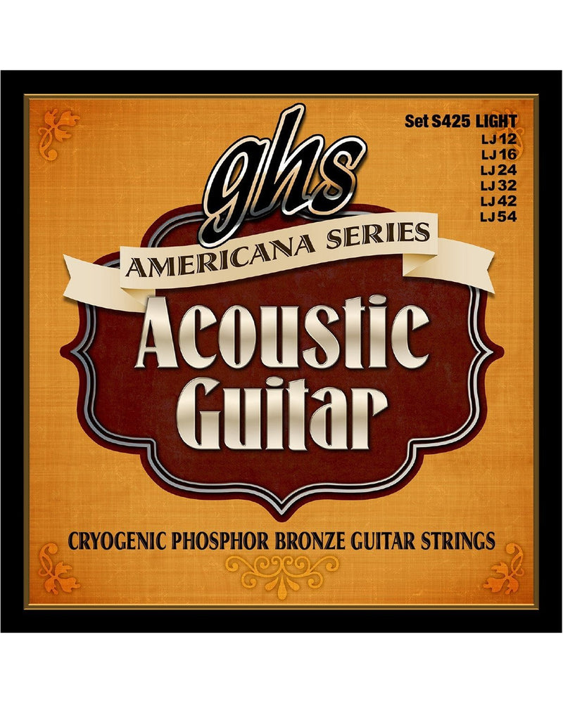 GHS S425 Americana Cryogenic Phosphor Bronze Light Gauge Acoustic Guitar Strings