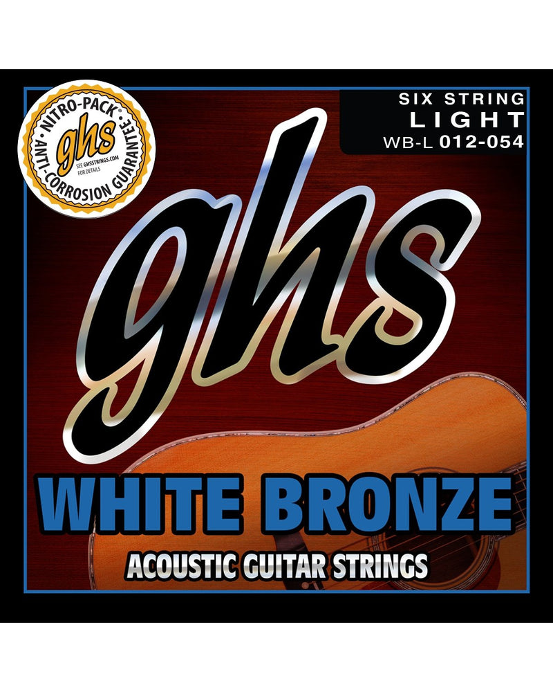 GHS WB-L White Bronze Light Gauge Acoustic/Electric Guitar Strings