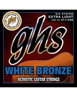 GHS WB-XL White Bronze Extra Light Gauge Acoustic/Electric Guitar Strings
