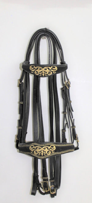 Special Order Baroque Double Bridle with Gold Embroidery 003032