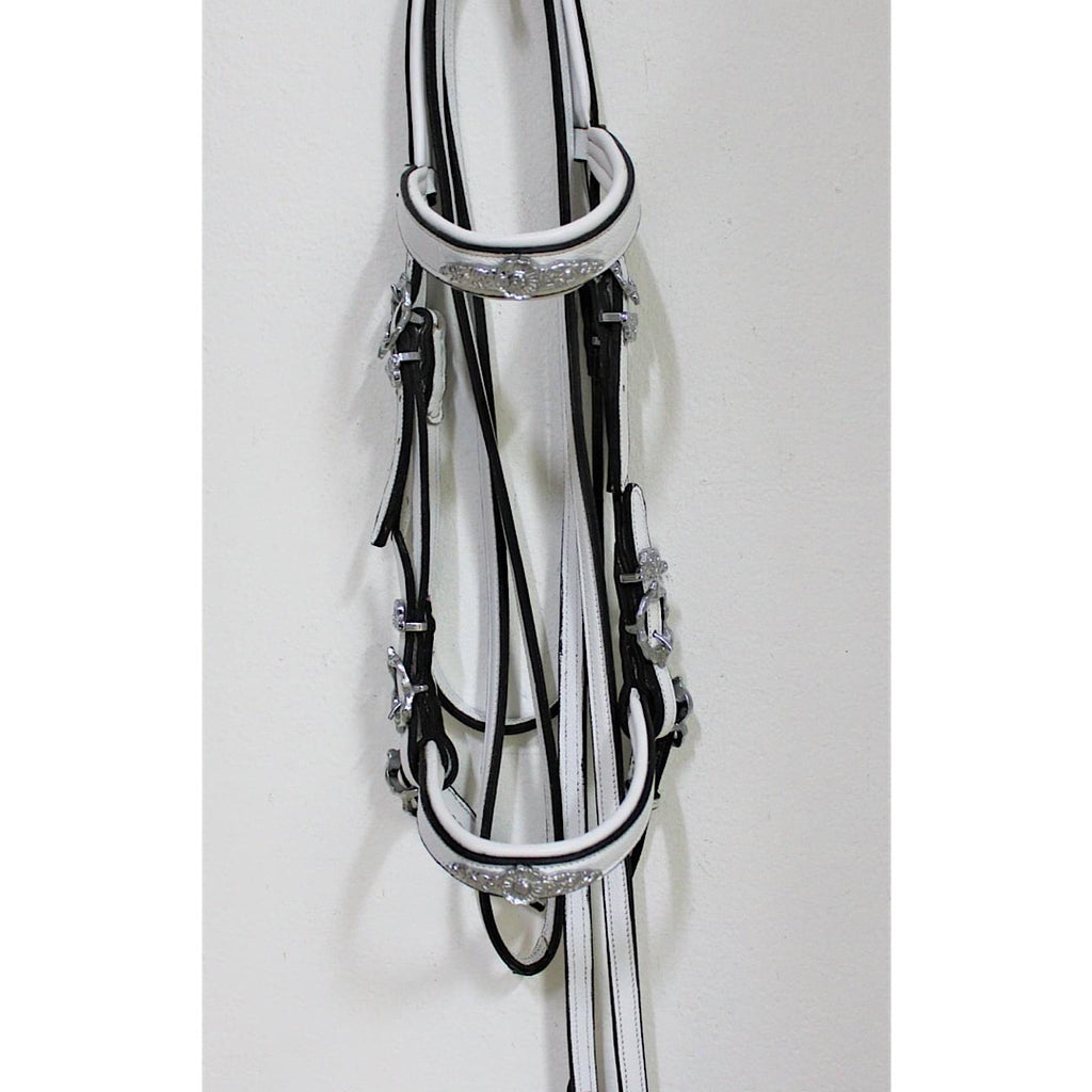 Elegant Double Baroque Bridle in white and black