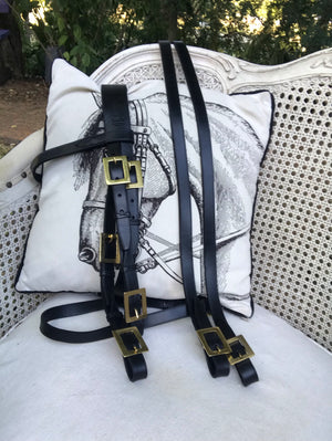 Traditional Portuguese double bridle with square buckles  0804