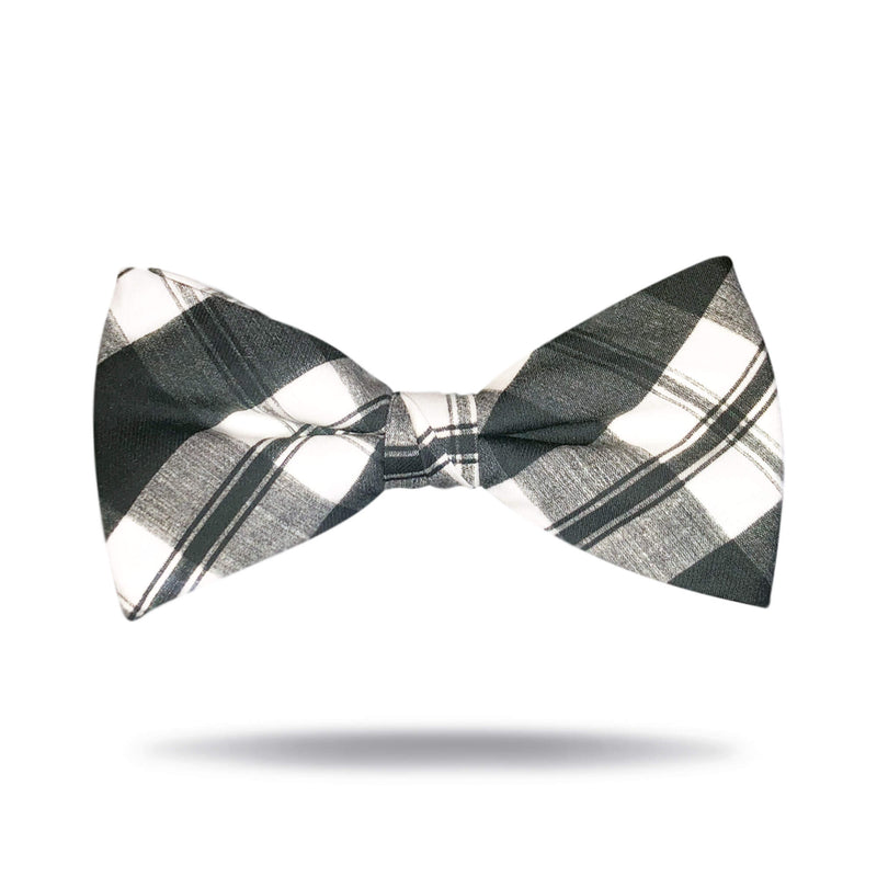 Black & White Plaid Bow Tie