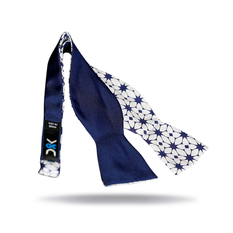 """Kaleidoscope"" Blue & White Bow Tie"