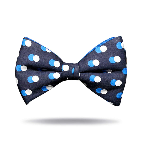 Blue & White Polka Dot Bow Tie