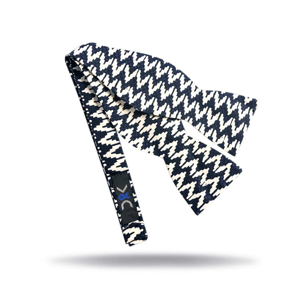 Navy & White Chevron Bow Tie