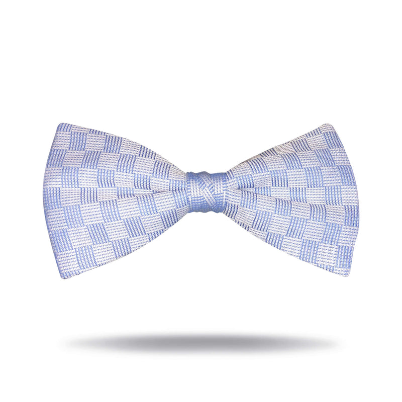 Light Blue Check Bow Tie