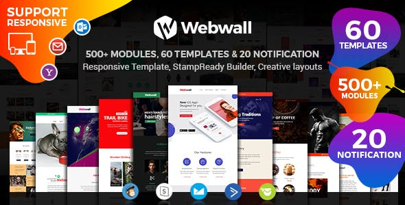 Webwall - Multipurpose Responsive Email Template with Stampready Builder Access