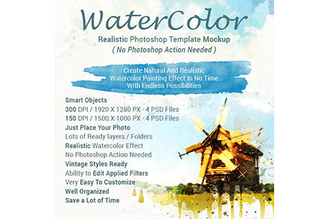 Realistic Watercolor Photoshop Template Mock-Ups