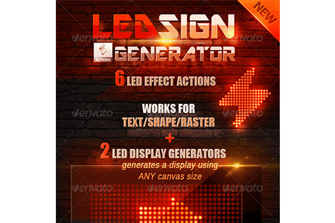 LED Lights Sign Generator Photoshop Action