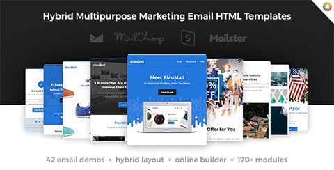 BlauMail - Hybrid Multipurpose Marketing Emails + 170 modules + StampReady Builder