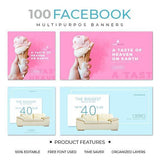 100 - Facebook Multipurpose Banners - photoshop action