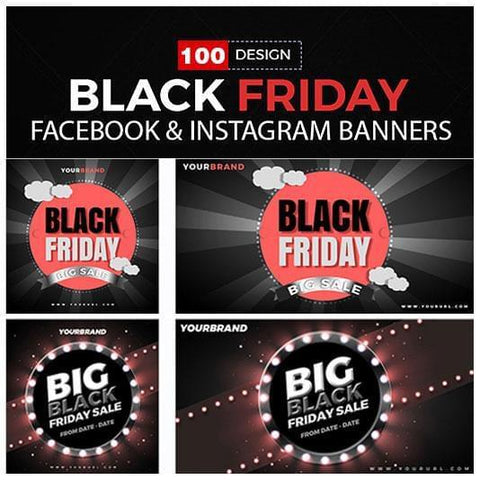 100 - Black Friday Facebook Banners 4.00 watercolor action