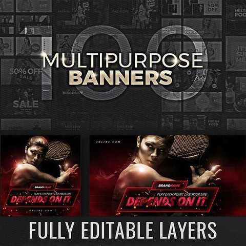 100 - Facebook Banners - photoshop action