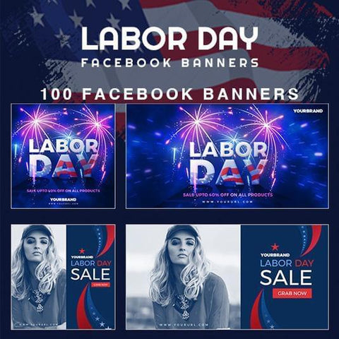 100 - Labor Day Facebook Banner - photoshop action