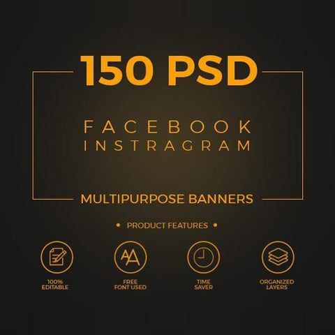 150 - Facebook Multipurpose Banners - photoshop action