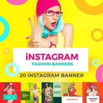 20 - Fashion Instagram Banners $4.00 watercolor action