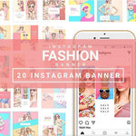 20 - Fashion Instagram Banners - 1 4.00 watercolor action