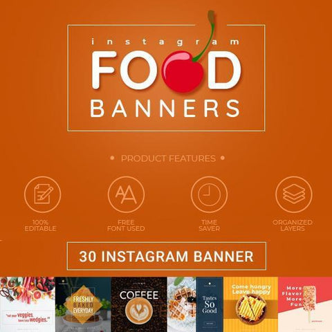 30 - Food Instagram Banners 4.00 watercolor action