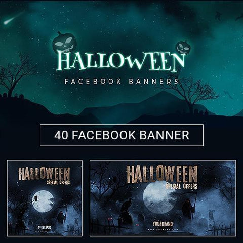 40 - Halloween Facebook Banners - photoshop action