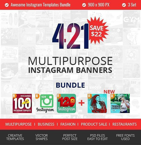 421 Instagram Promotional Bundle - photoshop action
