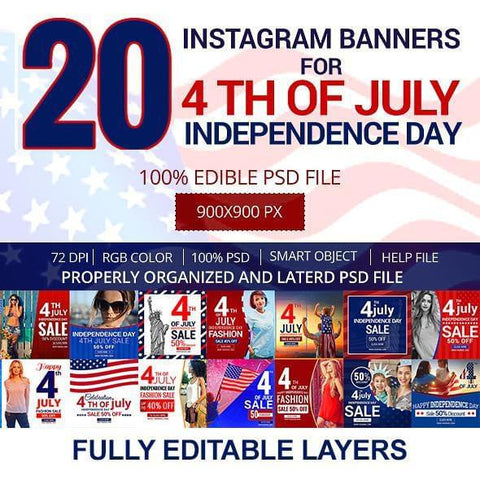 4th July 20 - Instagram Banners 4.00 watercolor action