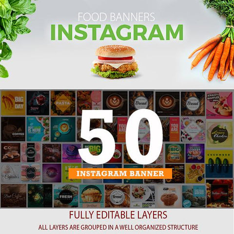 50 - Food Instagram Banners 4.00 watercolor action