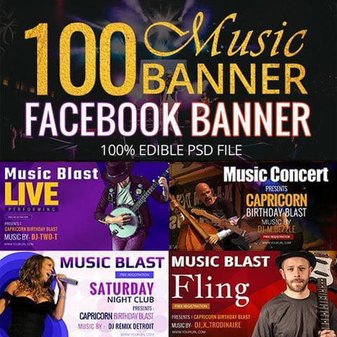 100 -  Music Facebook Banners 4.00 watercolor action