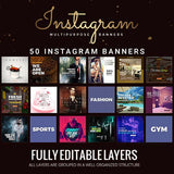 50 - Multipurpose Promotion Instagram Banners 4.00 watercolor action