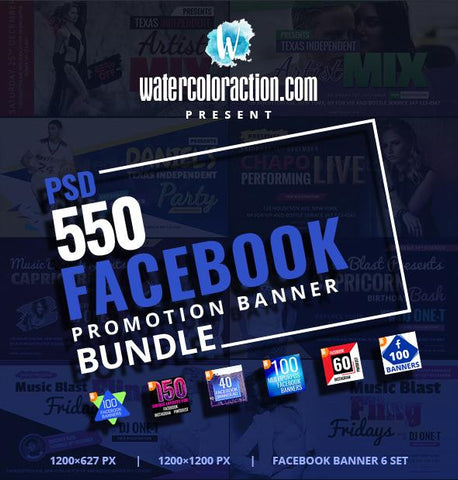 550 Facebook Banner Bundle 7.00 watercolor action