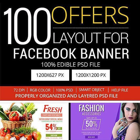 100 - Multipurpose Facebook Banners - photoshop action