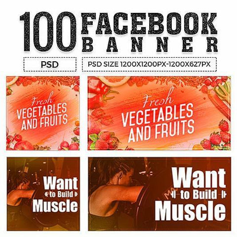 100 - Facebook Multipurpose Banners V1 - photoshop action